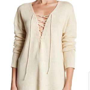 ASTR the label Cream Knit Lace Up V-neck Sweater